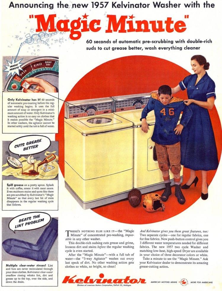 Kelvinator Magic Minute vintage washing machine and dryer ad 1956 1957