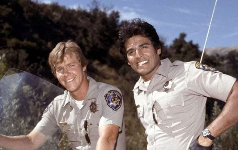 Larry Wilcox Erik Estrada in CHiPs TV show