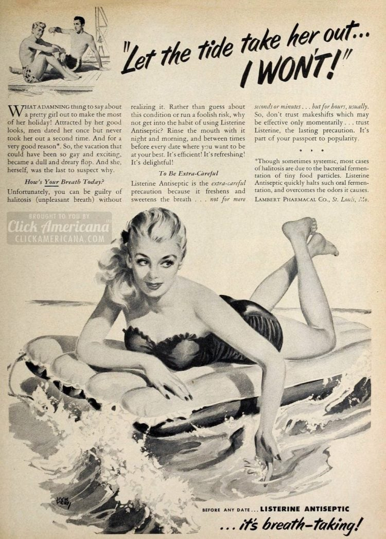 Let the tide take her out - Mean vintage ads - Listerine - Click Americana