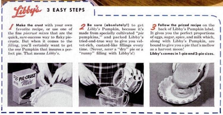 Libby's classic pumpkin pie recipe - 3 easy steps - 1955