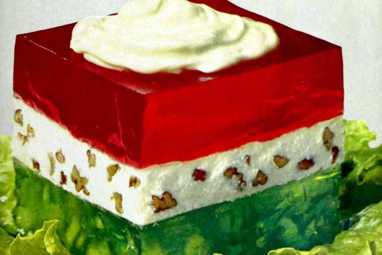 Lime-strawberry surprise Gelatin plus cream cheese & mayo (1966)