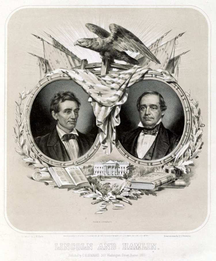Lincoln and Hamlin designed by J.N. Hyde 1860