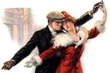 Man and woman ice skating - c1915