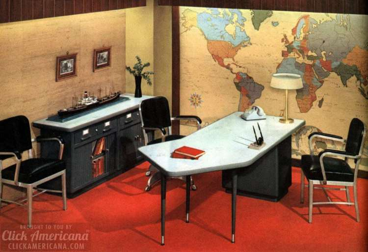 Mid-century modern retro office desks from 1959 - Click Americana (1)
