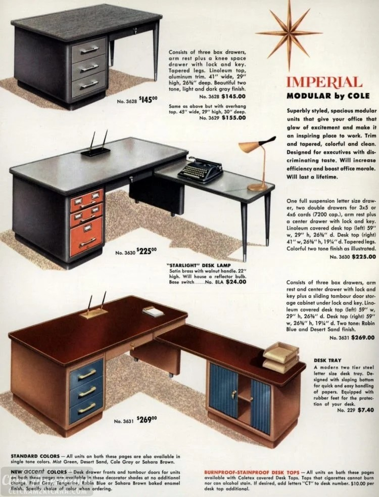 Mid-century modern retro office desks from 1959 - Click Americana (3)