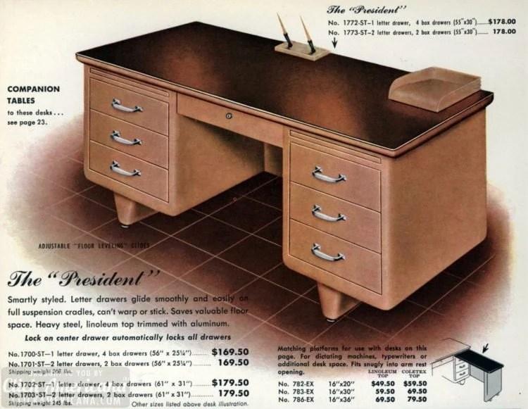 Mid-century modern retro office desks from 1959 - Click Americana (6)