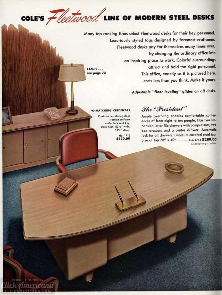 Mid-century modern retro office desks from 1959 - Click Americana (7)