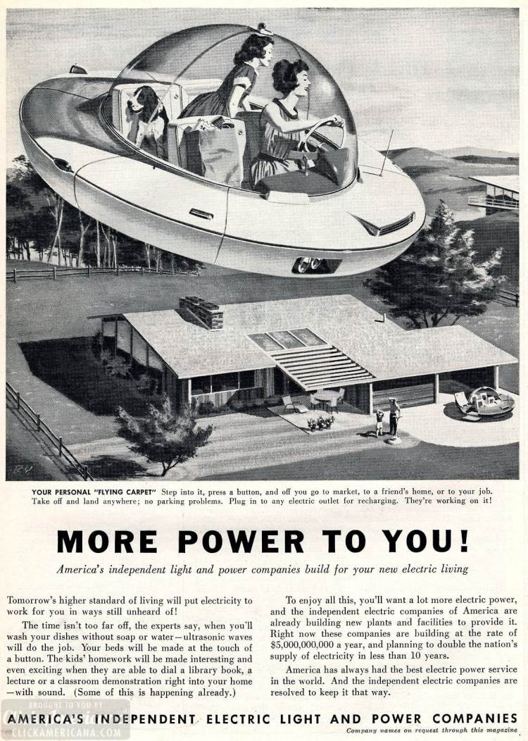 Flying cars - retro futurism from the 1950s