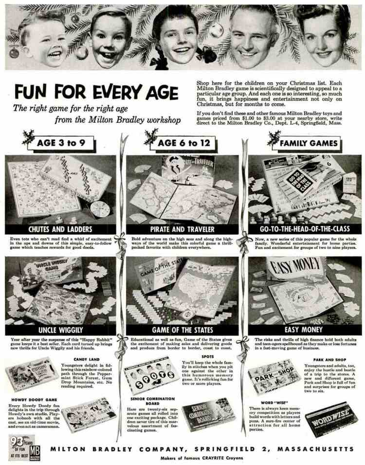 Nov 30, 1953 - vintage Milton Bradley board games