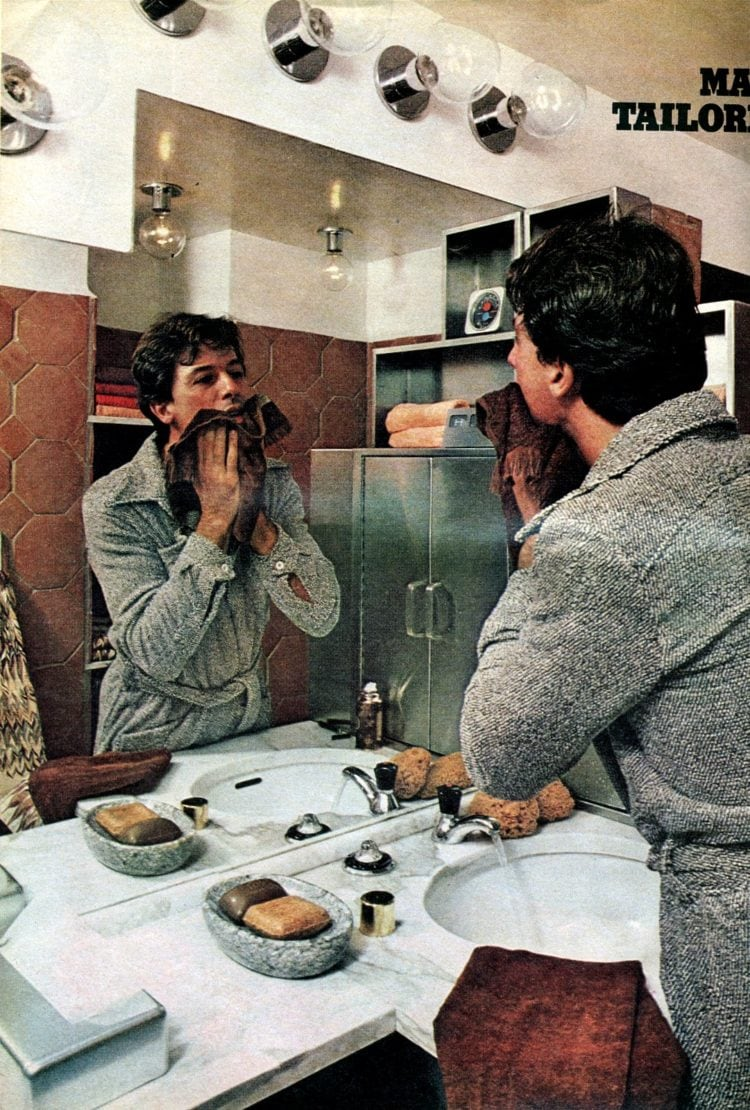 Brown and natural seventies retro bathroom decor