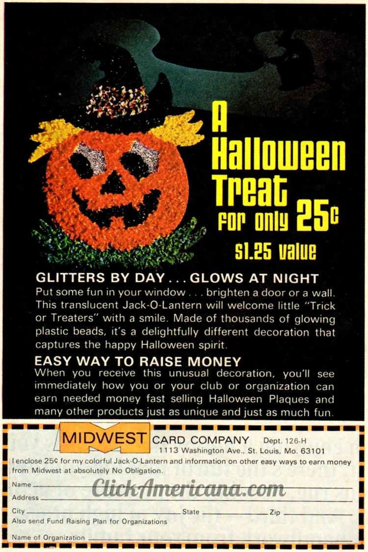 Retro glittering, glowing Halloween Jack O'Lantern bead decoration