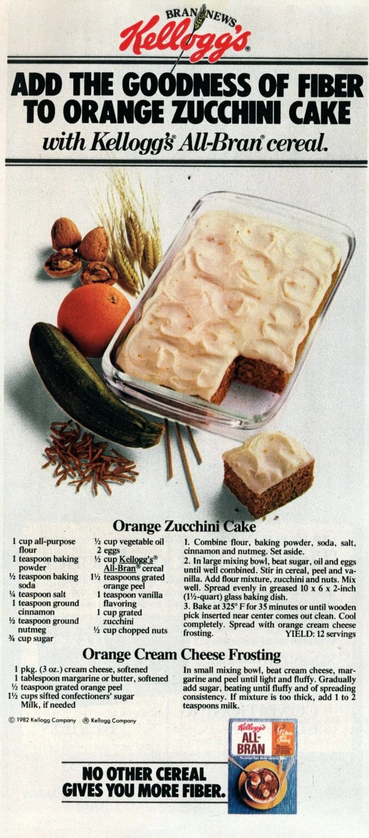 Retro recipe for orange zucchini cake with orange-cream cheese frosting, plus a bonus recipe variation