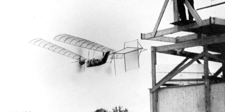 Samuel P. Langley's large steam-powered model Aerodrome No. 5 making a successful flight, 1896.