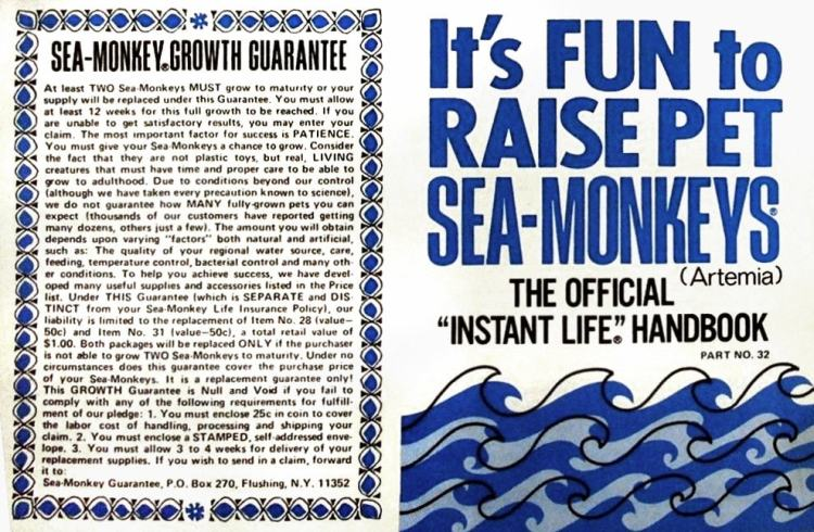 Sea Monkeys toy package - 1970 Insurance