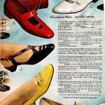 Frivolous flats for women - retro strappy low heeled shoes, T-strips shoes, two twisted ties, perky bow on cutout vamp