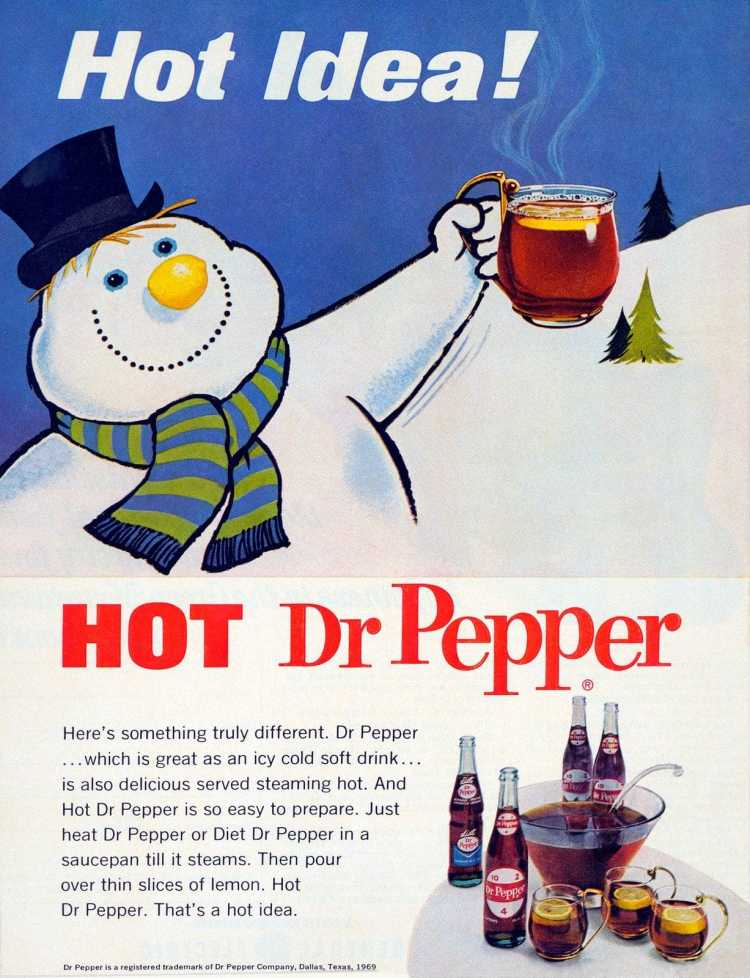 Snowman with hot Dr Pepper 1969