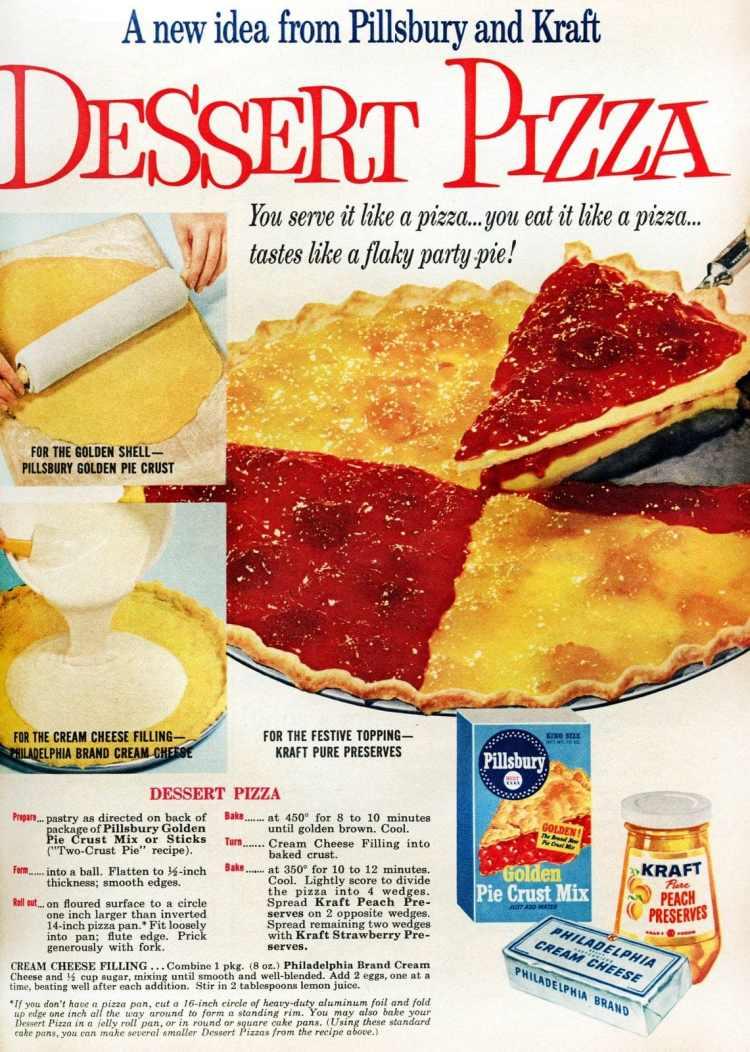 Strawberry-peach dessert pizza It's a flaky party pie 1959