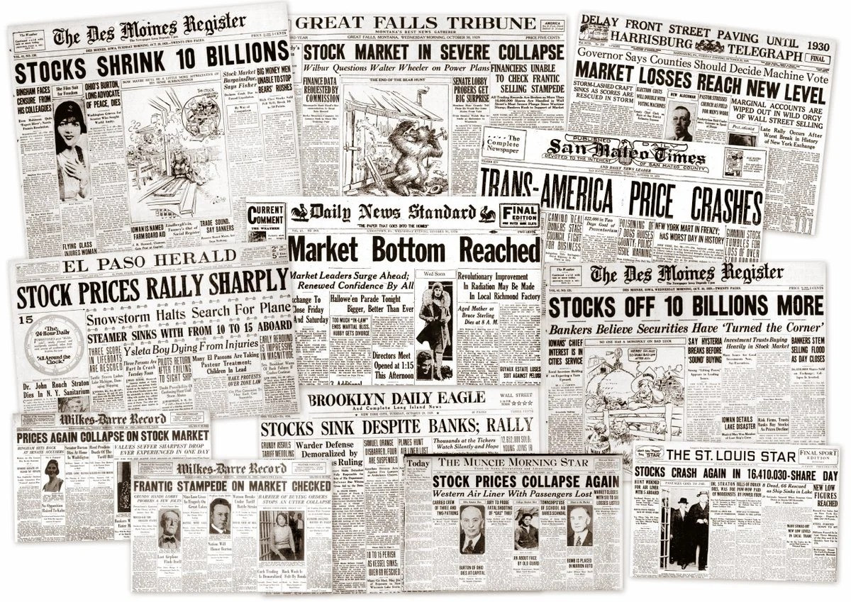 The Great Depression Newspaper Headlines From The
