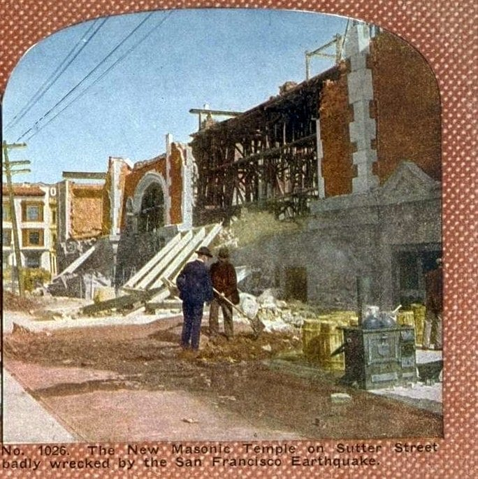 The New Masonic Temple on Sutter Street badly wrecked by the San Francisco Earthquake