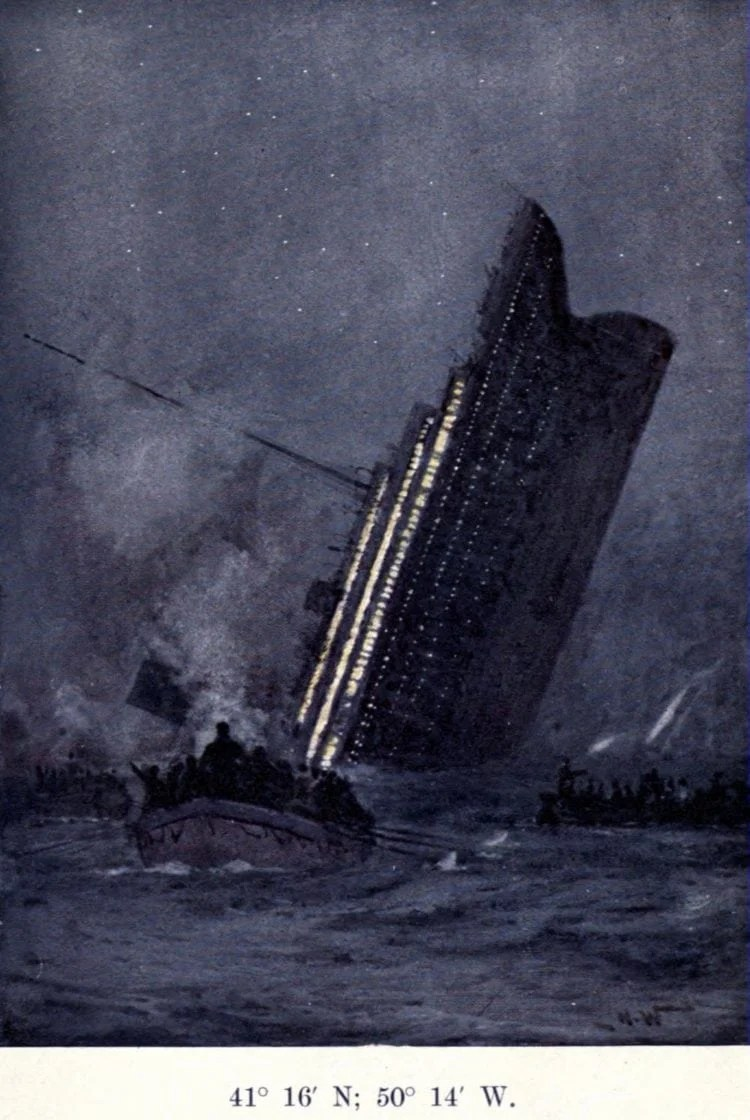The loss of the Titanic aftermath - sinking ship in 1912