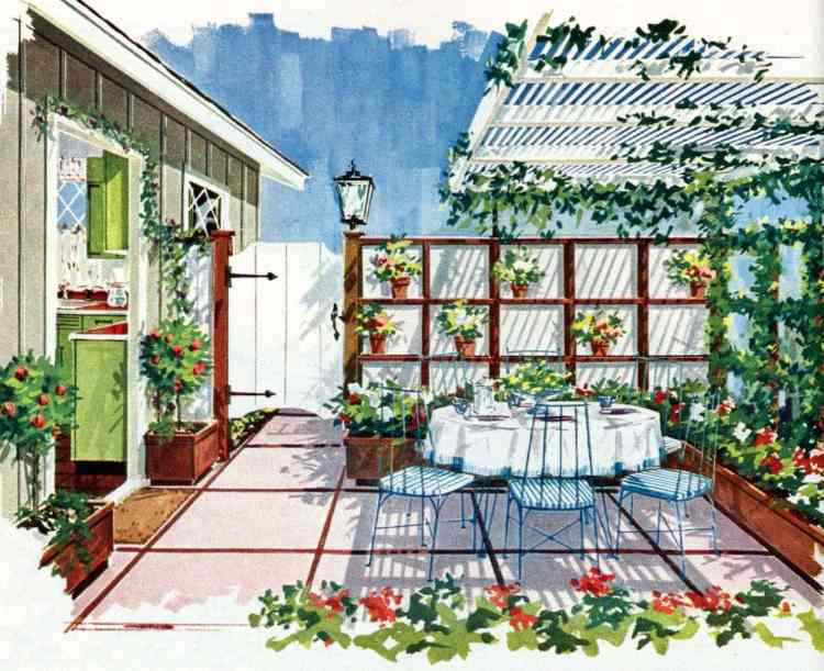 Bright floral alcove - Tiny private gardens and sweet retreats Clever ideas for small outdoor spaces from the 1960s