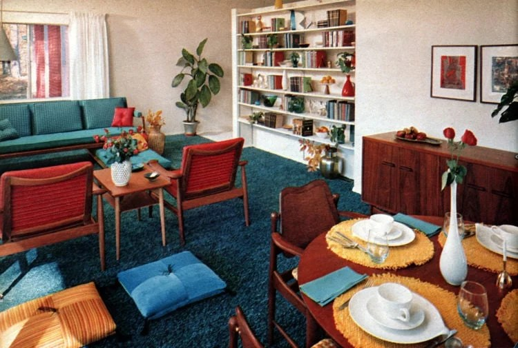 Typical 1950s prefab home - Living room