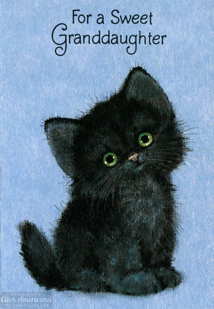 Vintage Black cat Halloween card from 1980
