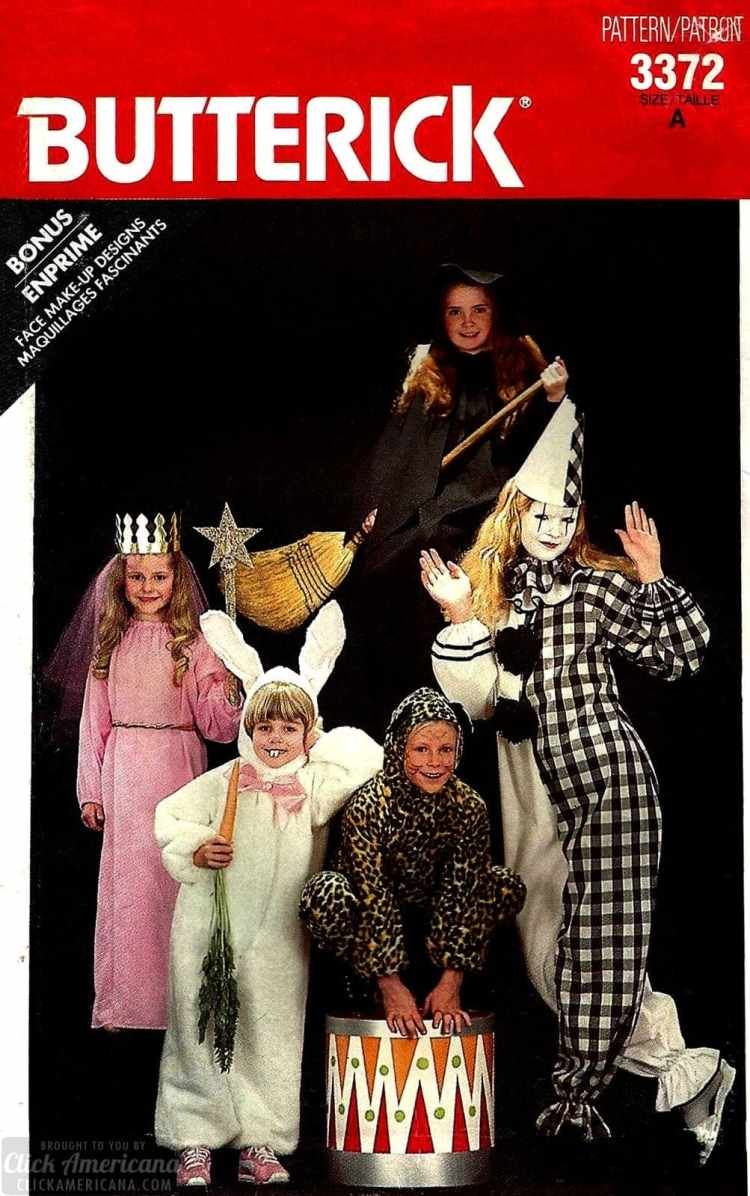 Vintage Halloween costume patterns - princess, bunny, leopard, mime and witch