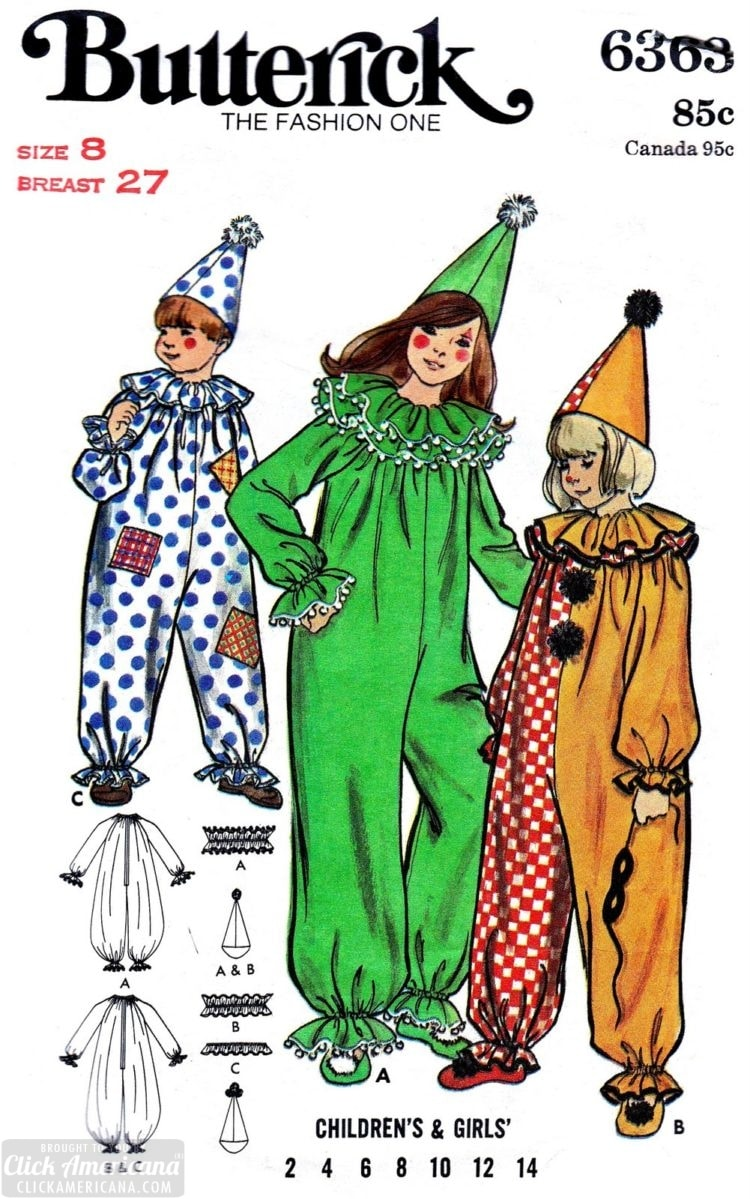 Vintage Butterick sewing patterns for clowns