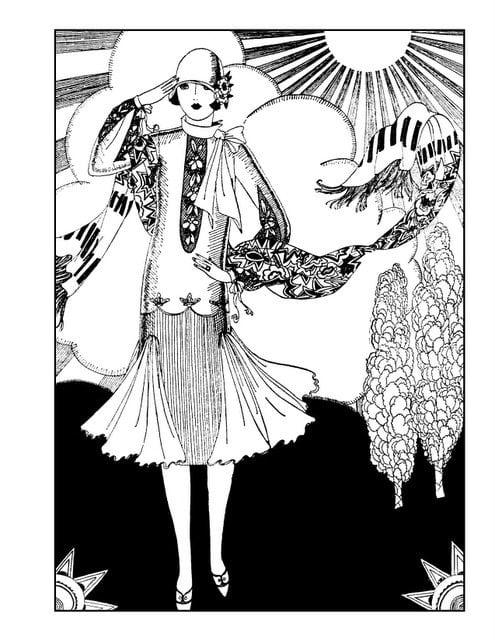 1920 Flapper Dresses Coloring Page