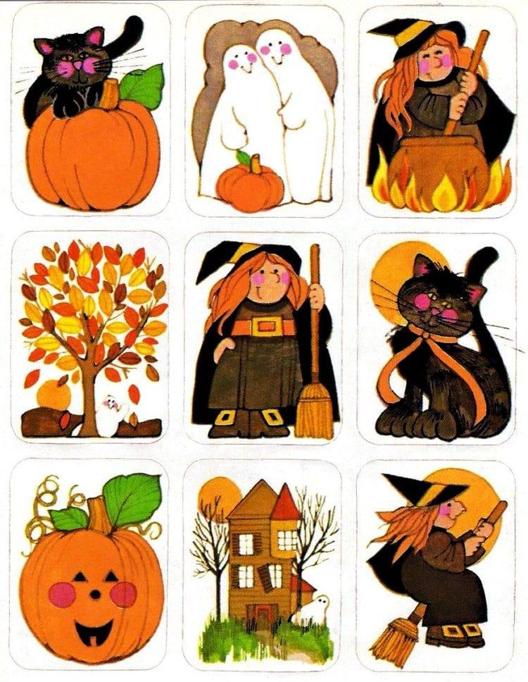 Vintage Halloween sticker sheets - Rectangular character stickers