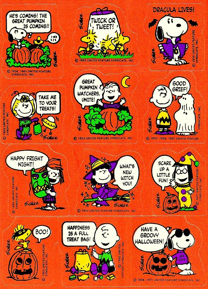 Vintage Halloween sticker sheets - The Peanuts characters