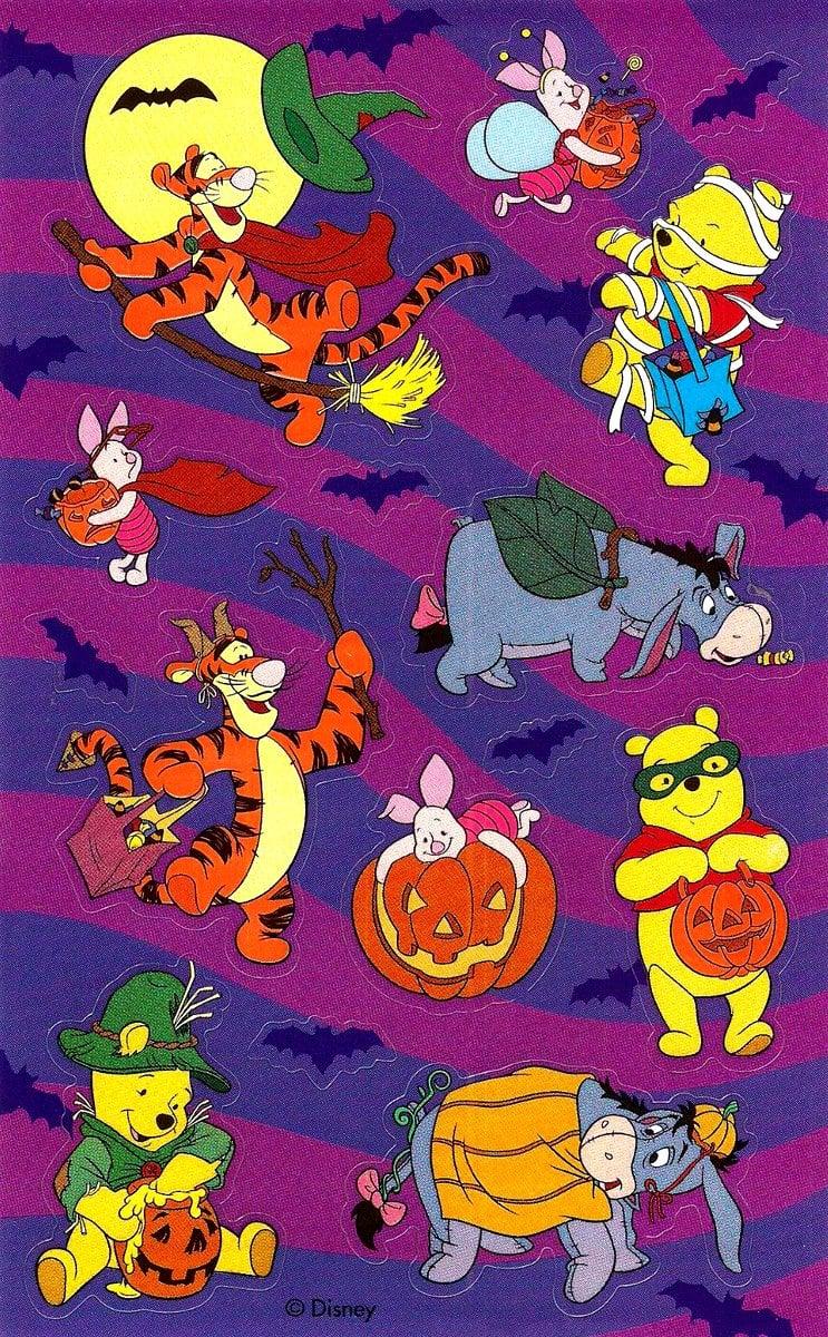 Vintage Halloween sticker sheet - Winnie the Pooh characters
