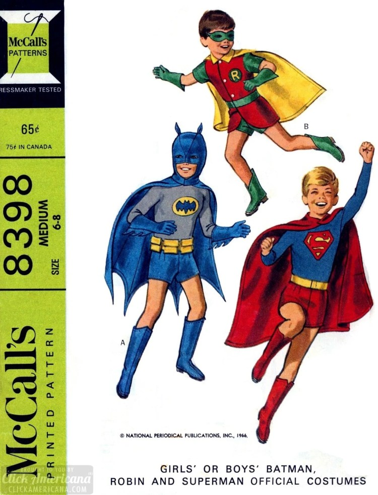 Vintage McCalls sewing patterns - Batman Robin and Superman