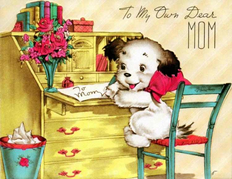 Vintage Mother's Day card from 1950s - Puppy at desk