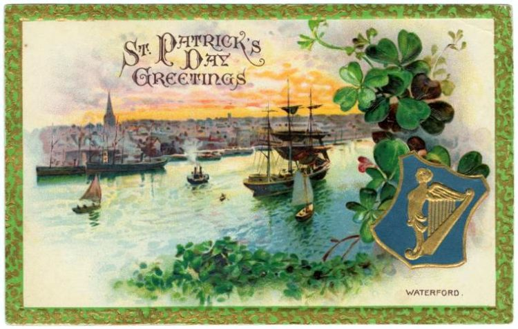 Vintage St Patrick's Day postcard - Waterford