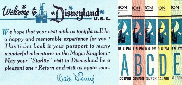 Vintage Ticket books - Disneyland - night - starlite visit