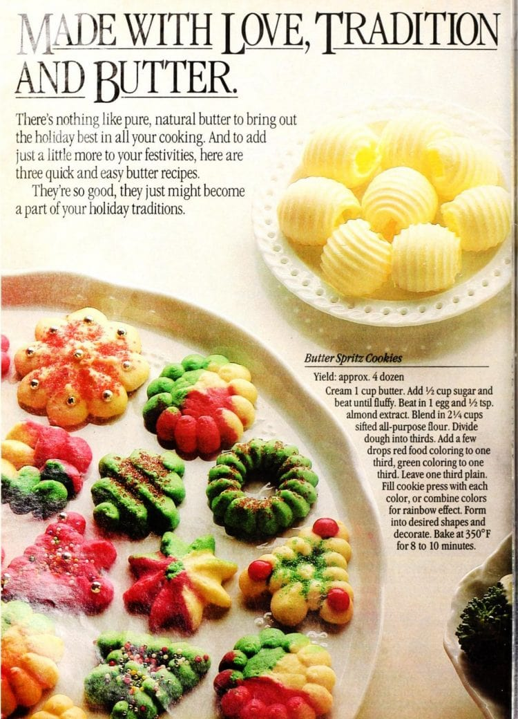 Vintage colorful Butter spritz Christmas cookies recipe from 1985