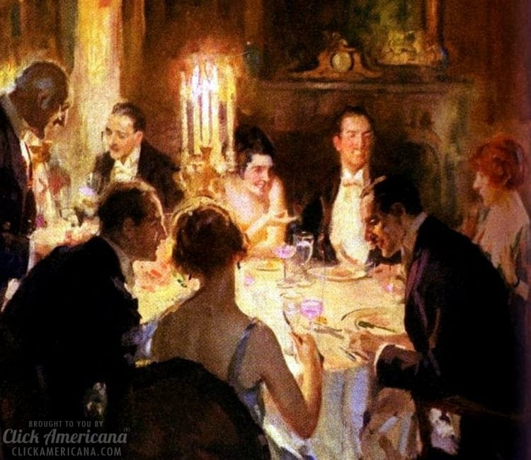 Vintage dinner party with guests