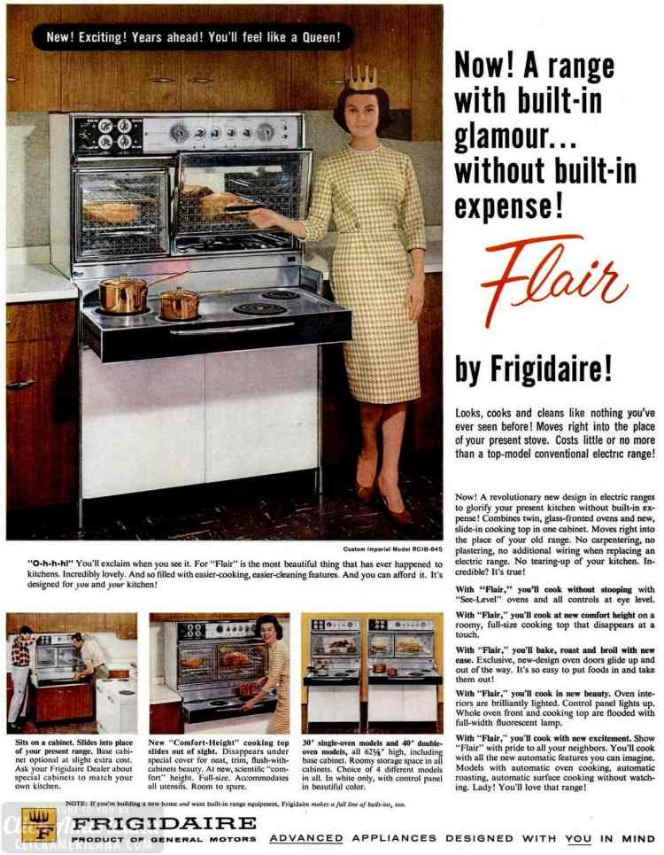 Vintage kitchen appliances from 1960 - Frigidaire Flair ranges with glass doors that lift up