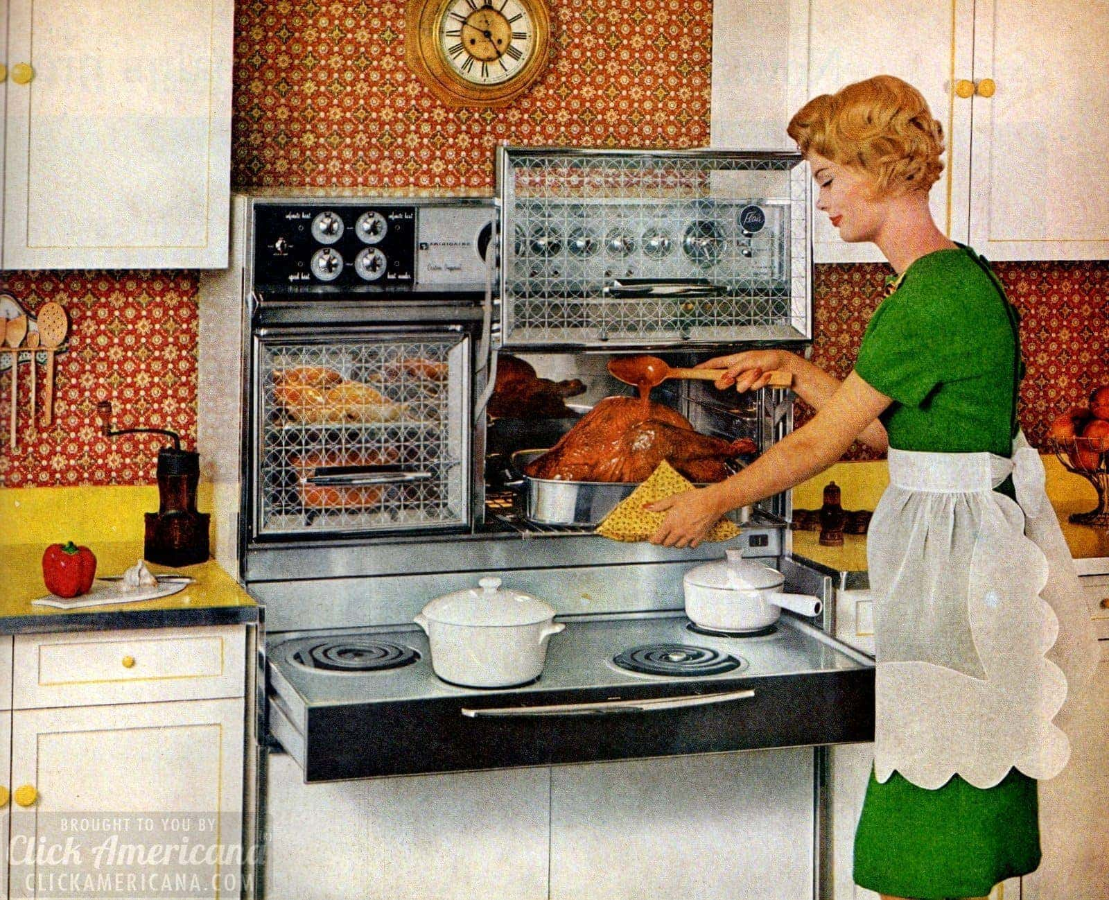 8 Vintage Sixties Kitchens With Flair Ranges: Pull Out Electric Stoves And  Glass Oven Doors That Opened Upwards   Click Americana