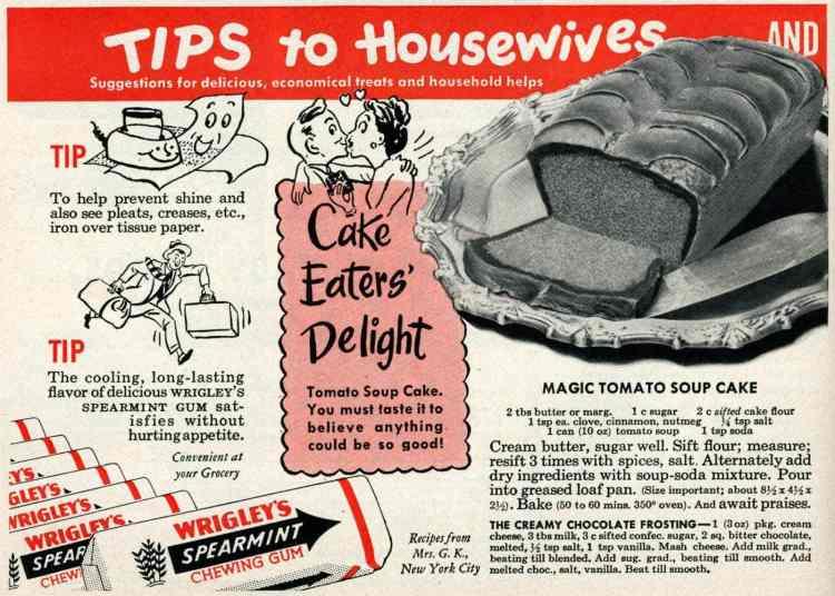 Vintage magic tomato soup cake recipes (1950)