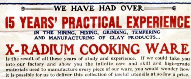 X-radium cookware from 1905