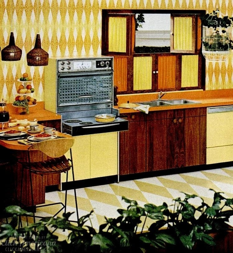 Yellow vintage kitchen appliances from 1962 - Frigidaire Flair ranges - pull-out and doors that lift up