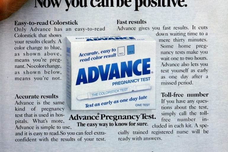 Advance easy-to-read Colorstick pregnancy tests (1987)