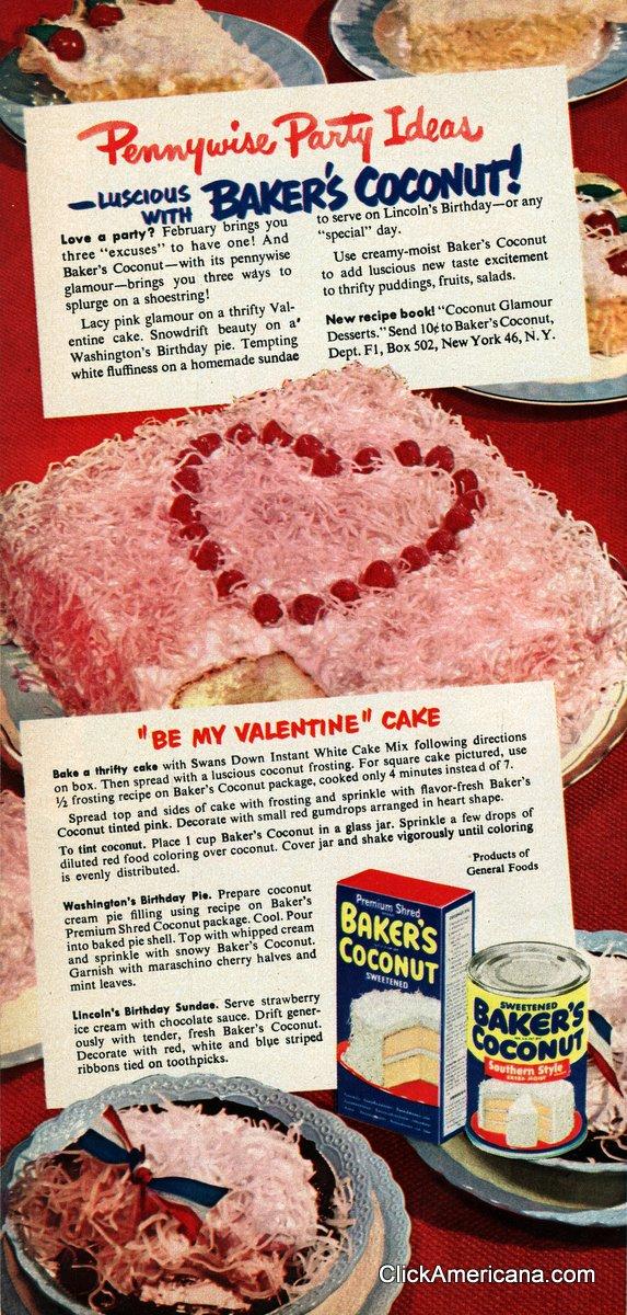 Be My Valentine Cake Washingtons Birthday Pie 1950 Click