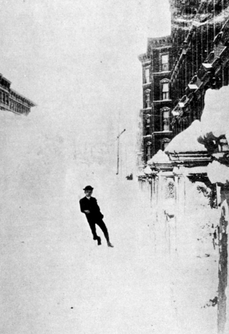 boy in huge snowdrift - NYC 1888