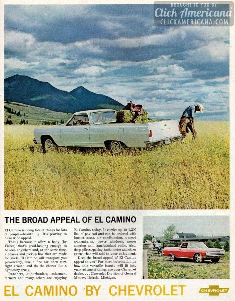 The Broad Appeal Of Chevrolet El Camino 1965 Click Americana 1957