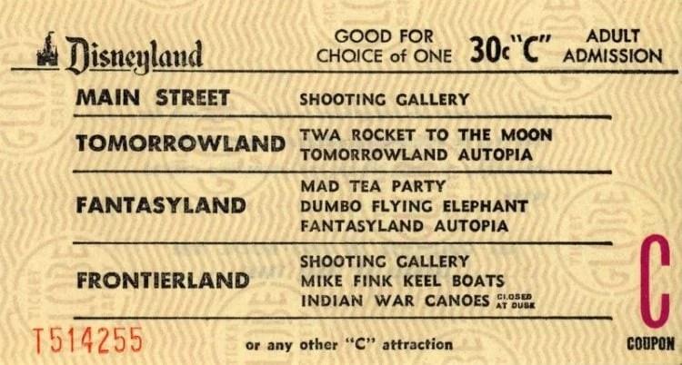 Disneyland tickets:C coupon adult admission (30c - yellow)