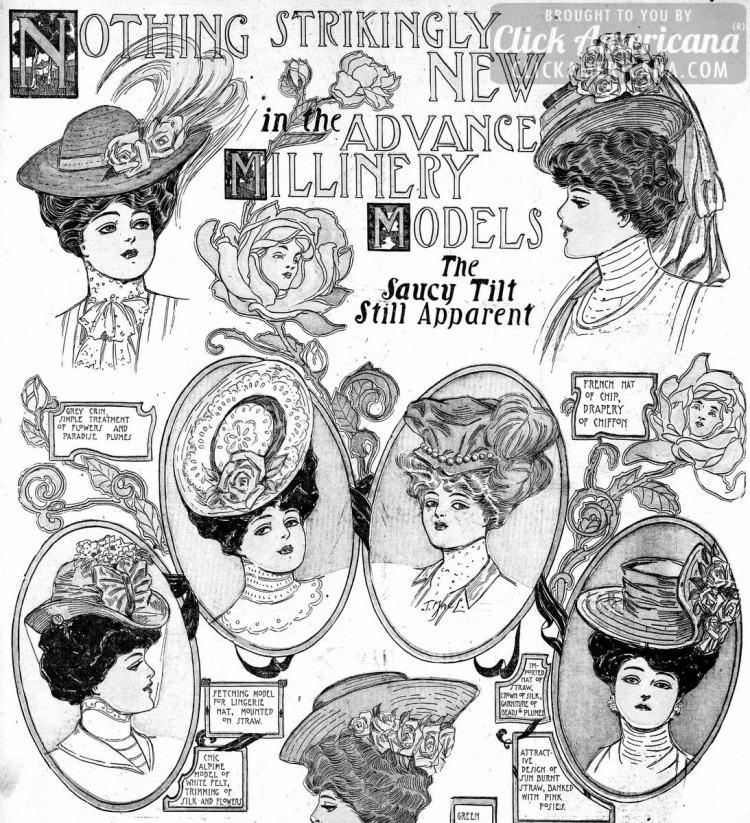 The most stylish hats of the season: The saucy tilt still apparent (1906)